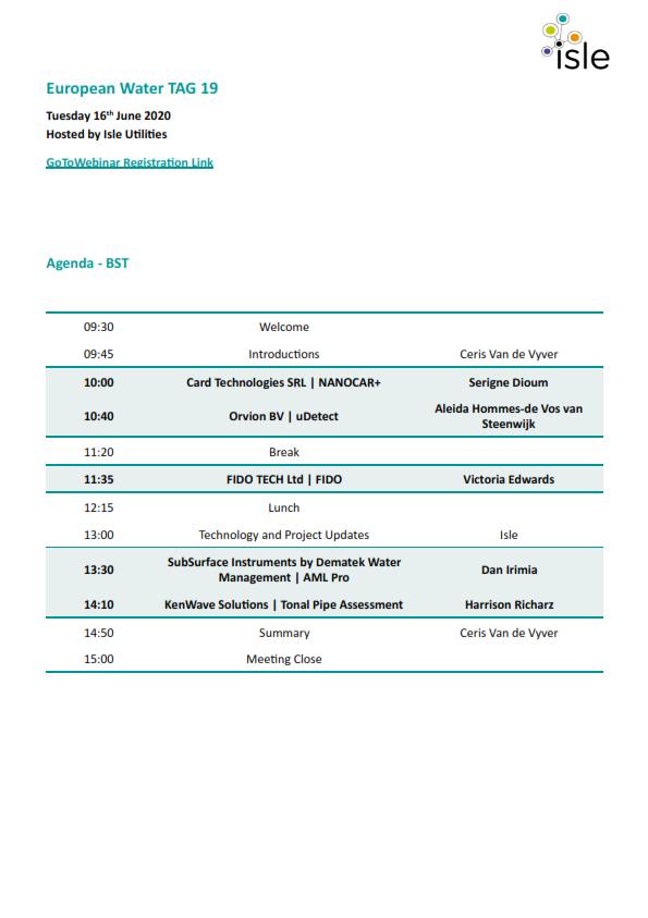 dematek-Dematek participa cu AML PRO la European Water TAG 19, Londra - Marea Britanie.